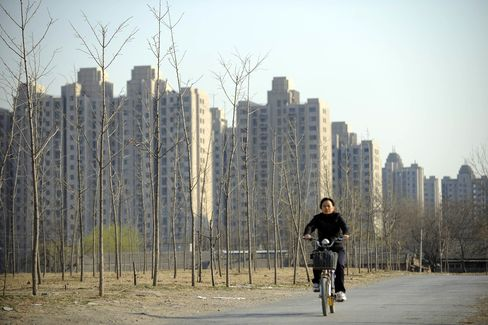 A large apartment complex stands in Beijing.
