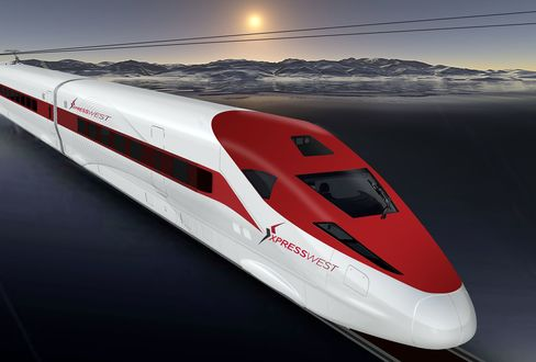 A computer rendering of the XpressWest train.