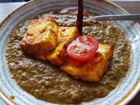 Saag with tandoori paneer.