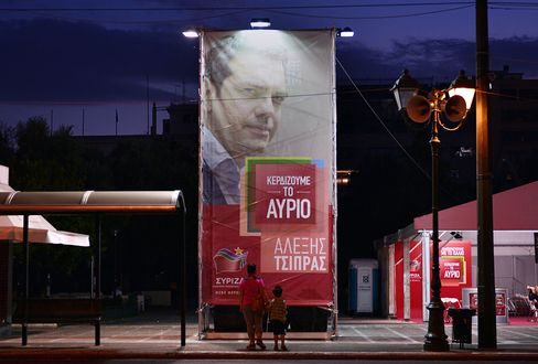 A Syriza party poster showing leader Alexis Tsipras in Athens.