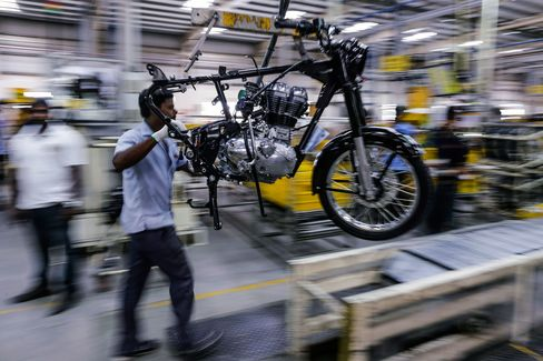 Production Line At Royal Enfield Motors Ltd. Factory As India Robot Invasion Undercuts Modi's Quest To Put Poor To Work