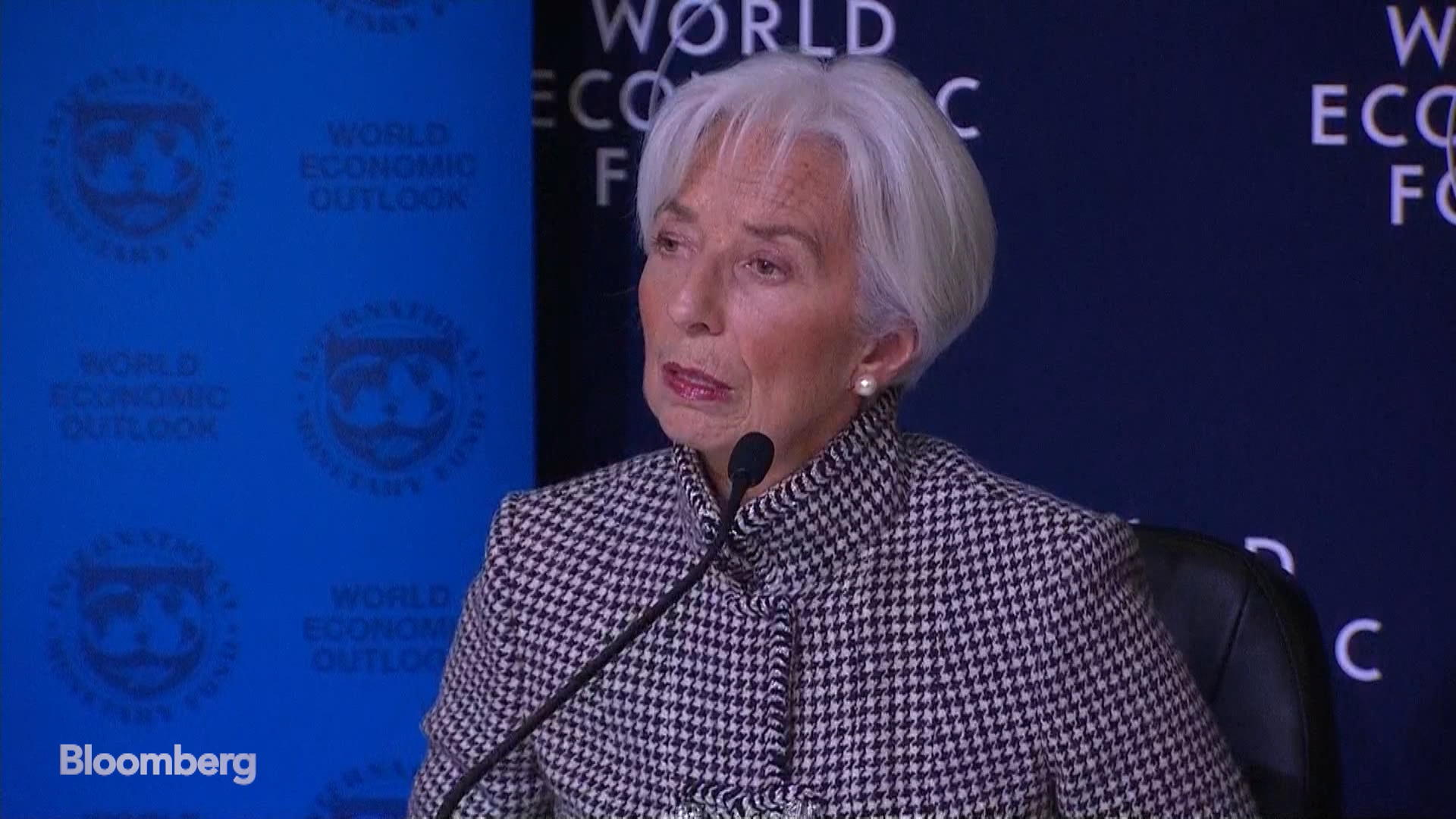 IMF's Lagarde Says Economy Faces `Significantly Higher Risks'