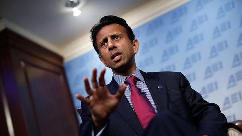 Louisiana Gov. Bobby Jindal speaks on the topic of 'Rebuilding American Defense' at the American Enterprise Institute October 6, 2014 in Washington, DC.