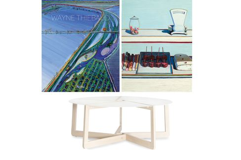 Pictured: Wayne Thiebaud is known for his enigmatic, lifelike paintings of desserts (top); Blue Dot's slice-shaped coffee table (bottom).