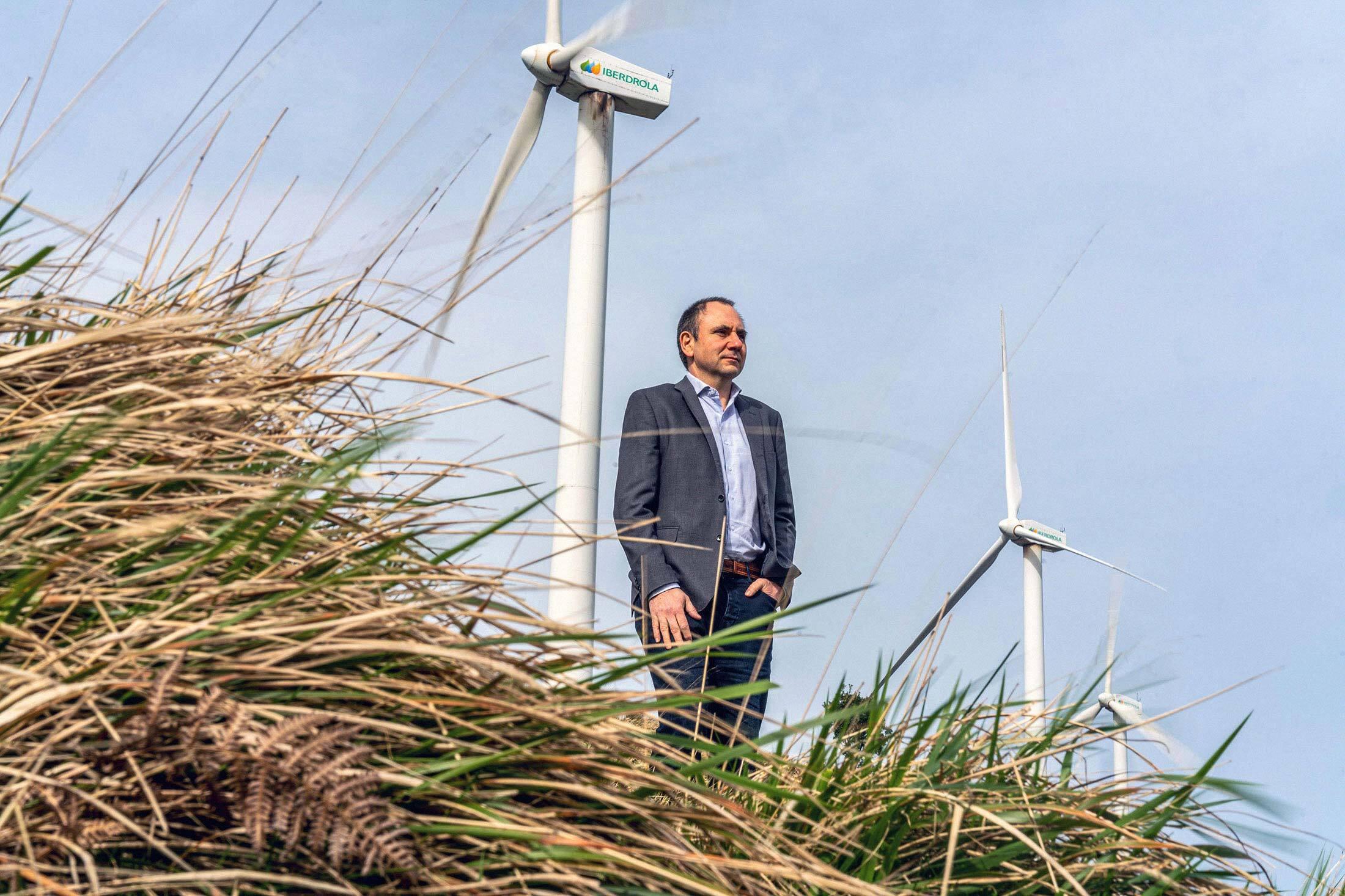 Gabriel Bermejo at a wind farm near Bilbao, Spain on March 20, 2020.