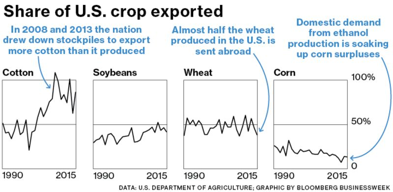 Chart: Share of U.S. Crop Exported