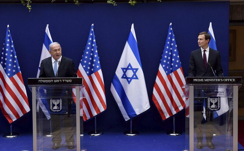 Benjamin Netanyahu and Jared Kushner make joint statements in Jerusalem, Aug. 30.
