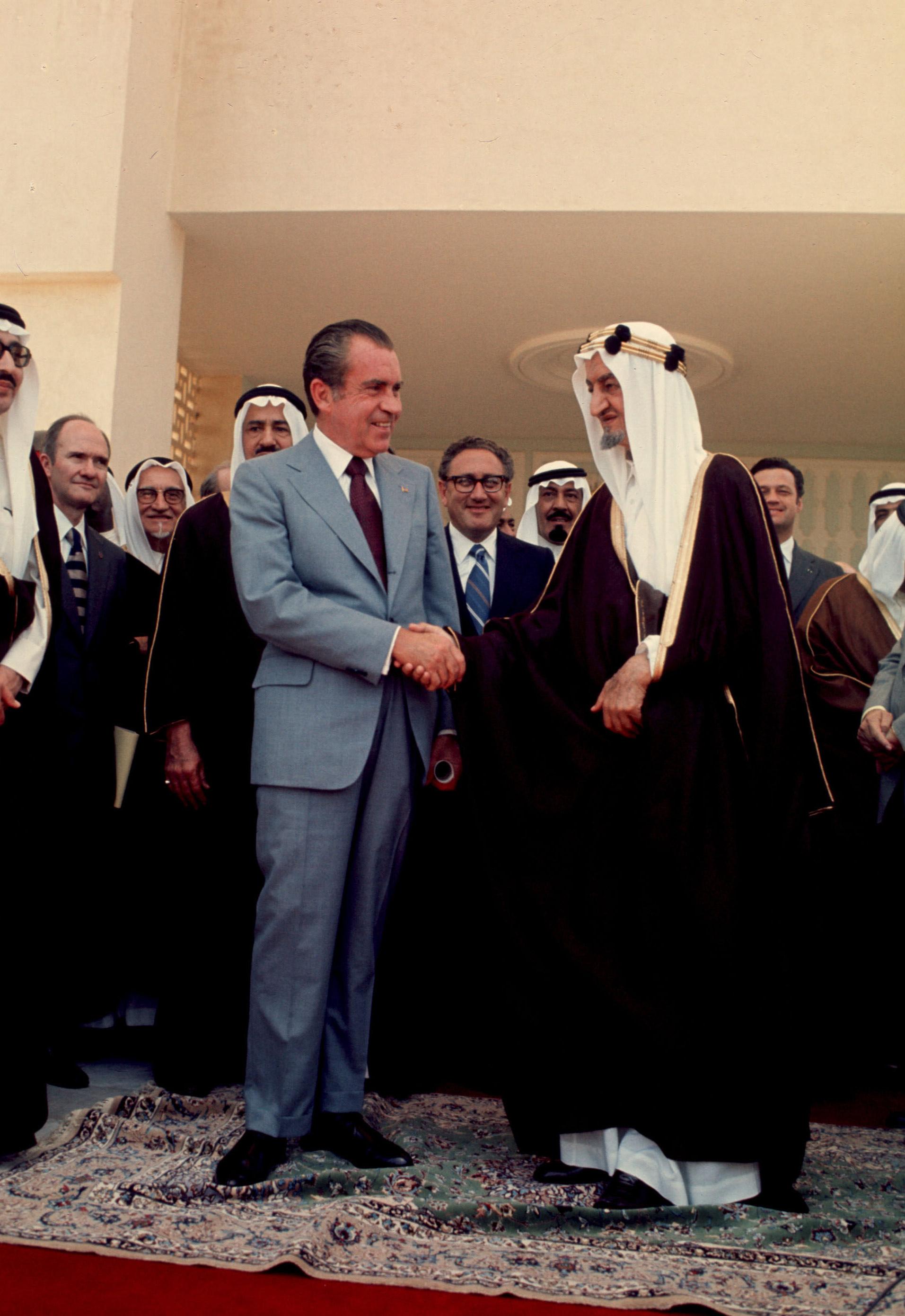President Nixon shakes hands with Saudi King Faisal in June, 1974, in Saudi Arabia.