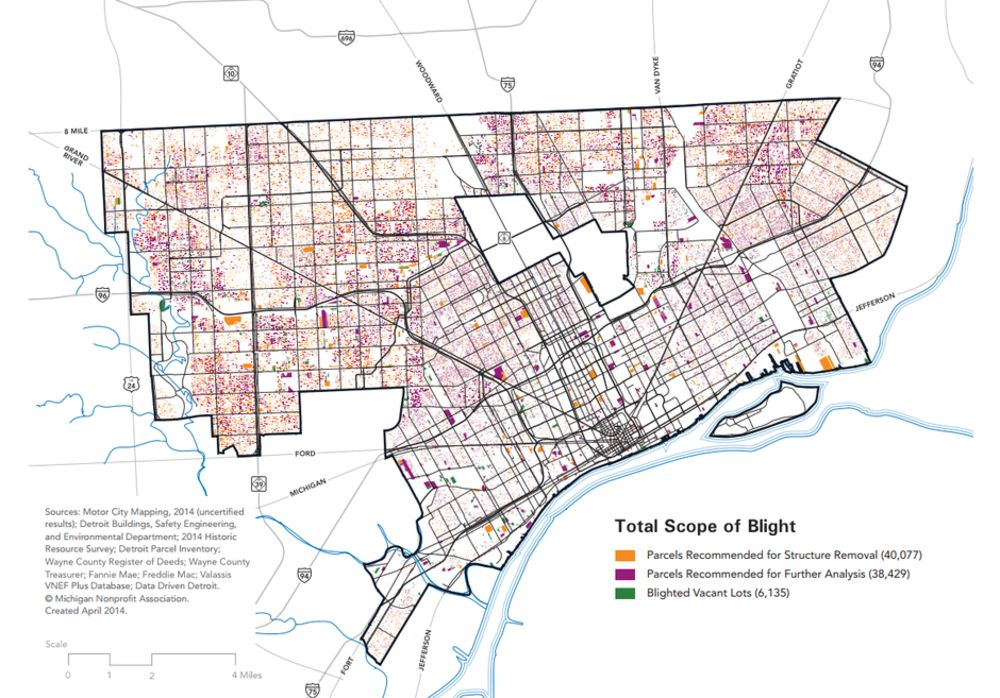 detroit vacant land map We Now Have Highly Detailed Maps Of Detroit S Blight Bloomberg detroit vacant land map