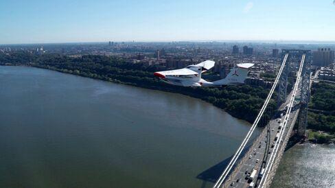 Cruising 1,000 feet over the George Washington Bridge during our NYC test flight.