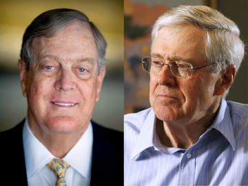 David H. Koch (left), photographed in 2008. Charles Koch (right), photographed in 2007.