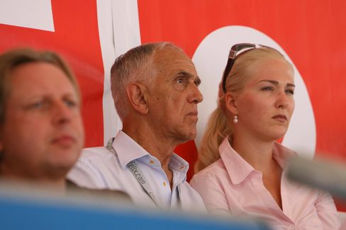Gaston Glock (center) and  current wife Kathrin Glock at a sporting event in Velden am Worthersee, Austria on Aug. 2, 2008.