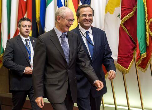 Greece's Prime Minister Antonis Samaras  and EU President Herman