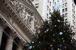 A Christmas tree in front of the New York Stock Exchange (NYSE) in New York, U.S., on Wednesday, Dec. 9, 2020.