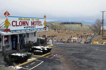 Yes, that is a spooky graveyard next to clown-themed motel deep in the nevada desert.