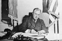 Franklin Roosevelt Signing the Emergency Banking Act