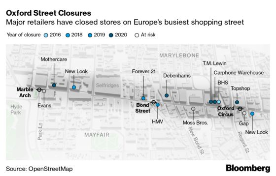 London's West End Turns Dead End as Shoppers Leave Oxford Street