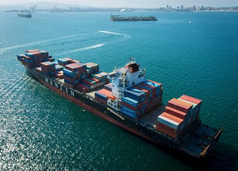 A Hanjin container ship anchored near Long Beach, California on Sept. 4.
