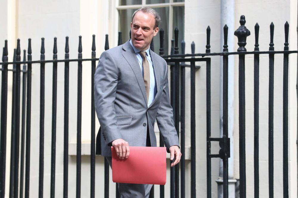 Dominic Raab, U.K. foreign secretary, arrives at number 10 Downing Street in London.