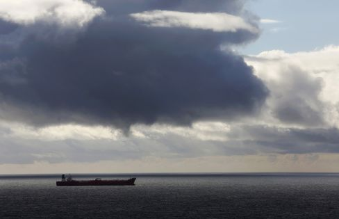 An Oil Tanker Passes Through the North Sea