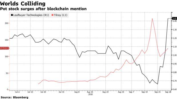 Pot stock surges after blockchain mention