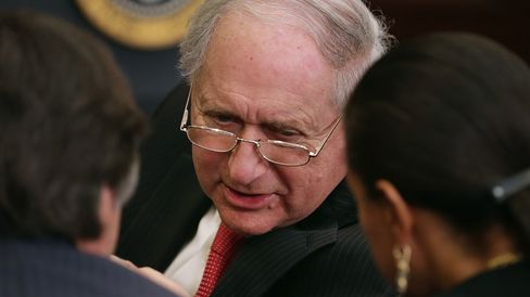 Senate Armed Services Committee Chairman Carl Levin (D-MI) attends the announcment of Ashton Carter to be the next Defense Secretary in the Roosevelt Room at the White House December 5, 2014 in Washington, DC.