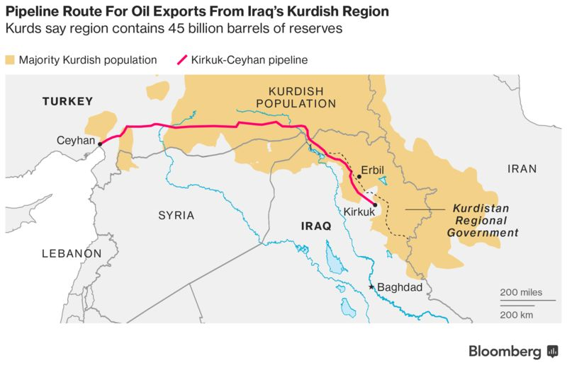 US Raises Alarm As Iraq Army Seizes OilRich Kirkuk From Kurds - Map of us troops on iraq and oil piplines