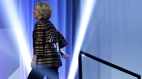 Democratic presidential nominee Hillary Clinton walks on stage during the 39th annual awards gala of the Congressional Hispanic Caucus Institute on Sept. 15, 2016, in Washington.
