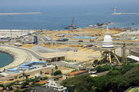 In this 2014 handout photo, construction continues on reclaimed land for the Colombo Port City project near Colombo Port in Sri Lanka.