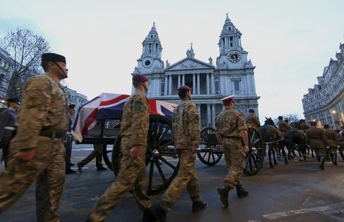 Troops Rehearse Thatcher Funeral Cortege in Pre-Dawn London
