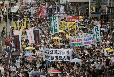 Hundreds of protesters march on a downtown street during the annual pro-democracy protest in Hong Kong, Friday, July 1, 2016.