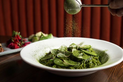 Delicate noodles dusted with matcha, Japanese green tea powder.