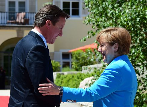 German Chancellor Angela Merkel welcomes British Prime Minister David Cameron at the Elmau Castle near Garmisch-Partenkirchen, southern Germany, on June 7, 2015.