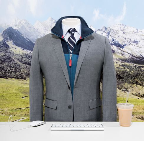 When looking for a vest, stick to neutral colors—blues, grays, etc.—reserving anything brighter (like the red seen here) for accents. Don't match the vest exactly to the jacket, either. Patagonia lightweight Synchilla Snap-T vest, $89, patagonia.com. Bonobos Jet-setter suit, $525, Daily Grind striped shirt, $98, and silk necktie, $78; bonobos.com.