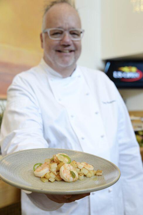 Tony Mantuano with his Pasta Amatriciana.