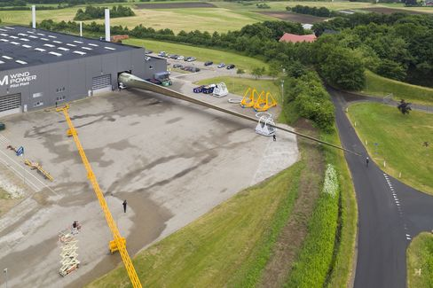 LM Wind Power rolls out world's longest wind rotor from its factory in Kolding, Denmark.