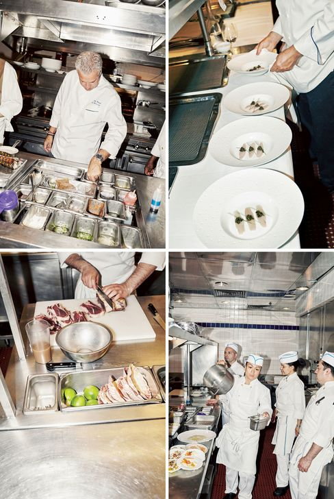 "Clockwise from top left: Ripert testing ingredients at Le Bernardin; warm kingfish ""sashimi""; the kitchen staff at work; meat prep"