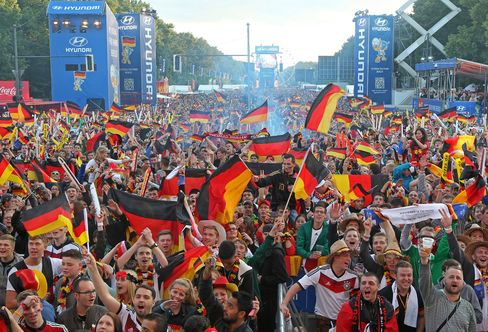 World Cup Fans Watch a Match at the Fanmeile in Berlin