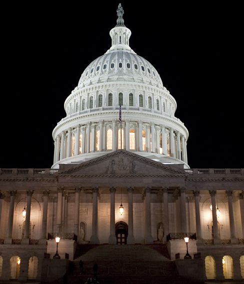 The U.S. Capitol Building Illuminated at Night