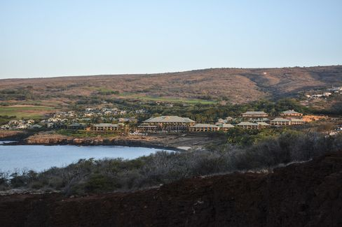 The Four Seasons Resort Lanai and its surrounding golf course seen from the hike to Sweetheart Rock.