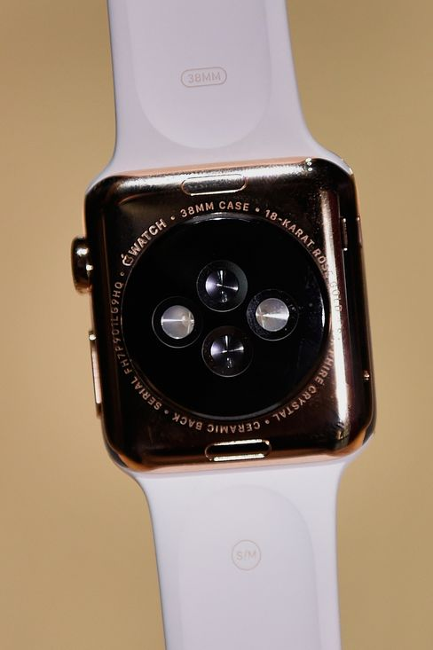 The Apple Watch Edition is displayed during the Spring Forward event in San Francisco, California, U.S., on March 9, 2015.