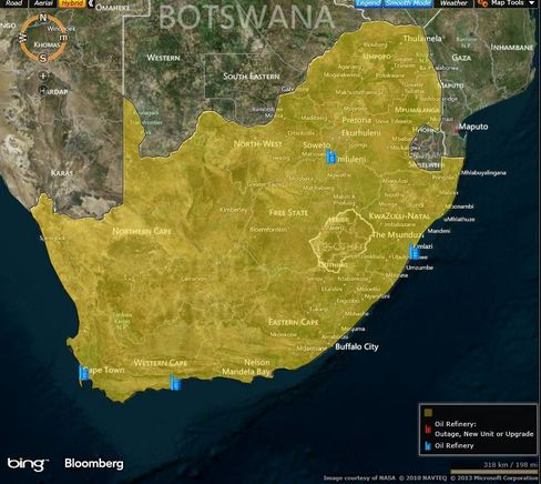 MAP: South Africa's oil refineries