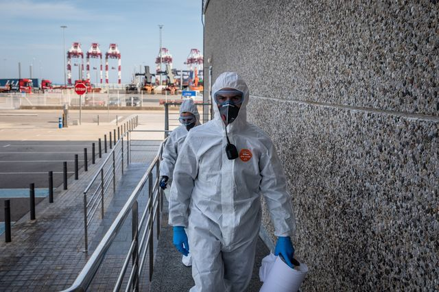Spain's military emergencies unit (UME) arrives for a deep clean operation at the border inspection point at the Port of Barcelona, Spain, on March 20.