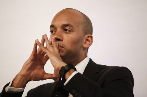 Chuka Umunna, business spokesman for the U.K. pauses during the Grant Thornton business themed debate at the British Museum in London, U.K., on Tuesday, April 14, 2015. The pound has been declining before the U.K.'s most uncertain election in a generation, that risks pushing parties into protracted negotiations to form a government.