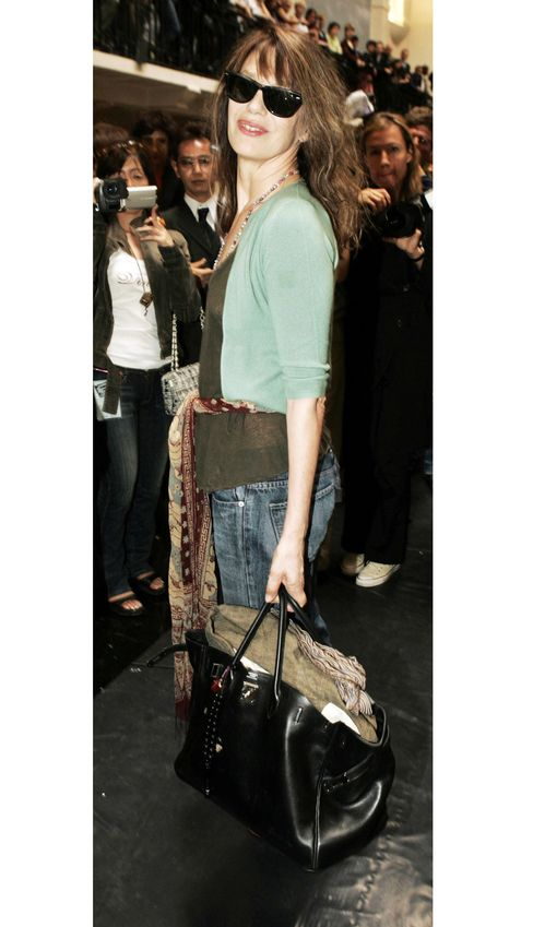 The Birkin was introduced in 1984, named after fashion icon Jane Birkin (seen here at he Jean Paul Gaultier Spring/Summer 2005 fashion show).