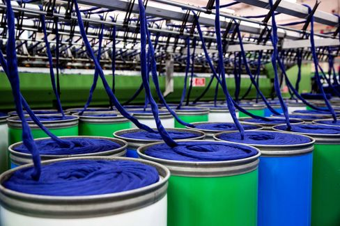 Dyed cashmere fleeces are spun at Loro Piana's plant in Roccapietra, Italy.