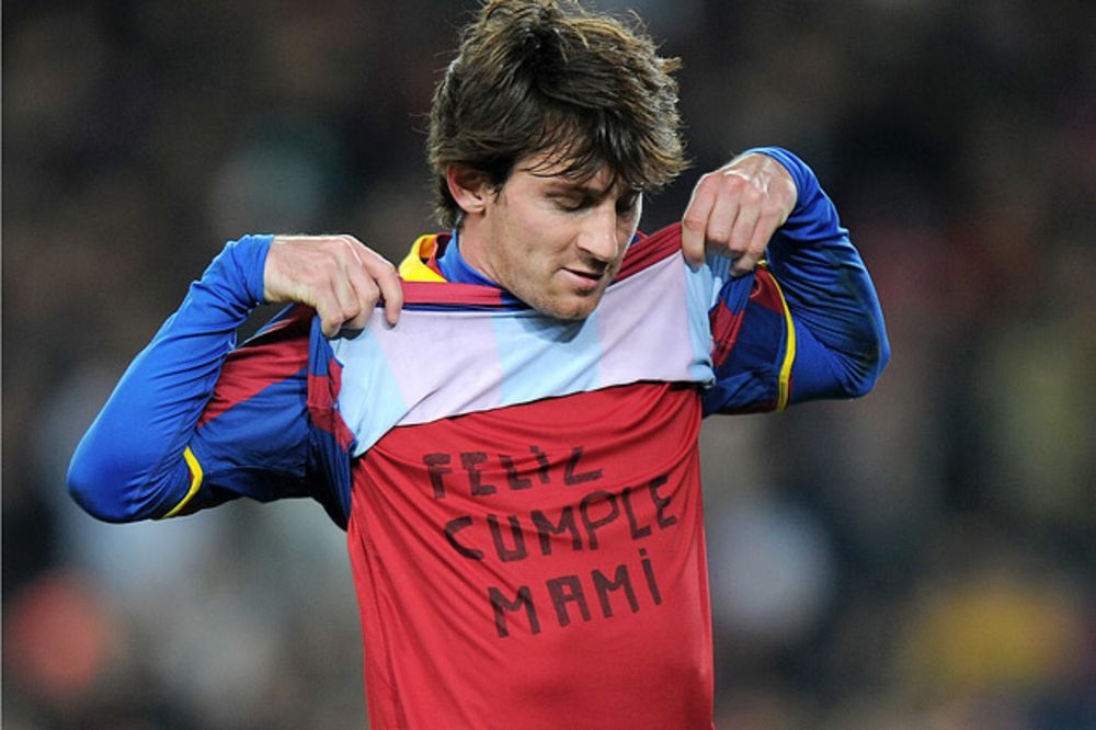 60b29a9ab92 Barcelona's forward Lionel Messi shows a shirt reading 'Happy Birthday  Mami' after scoring during