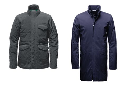 Aether's Northerner utility jacket (left) and Polar Trench (right). Also check out itsbase layers and swim trunks (come April, or beyond).