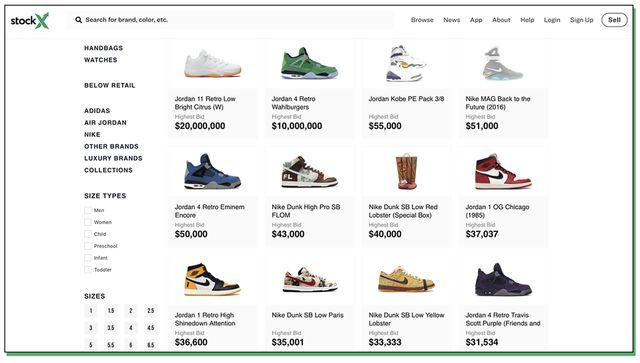 A screenshot of a page on stockx.com.