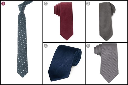 (1) Corduroy dots, The Tie Bar, $19, thetiebar.com; (2) Corduroy solid skinny tie, Tommy Hilfiger, $65, macys.com; (3) Grey corduroy tie, Black Fleece, $125, brooksbrothers.com; (4) Woven twill tie, Gitman Bros., $115, gitman.com; (5) King cord solid tie, Calvin Klein, $65, macys.com.